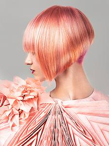 Downloadable Photos - Woman with Pink Colored Bob Hairstyle