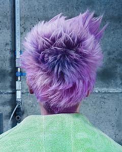 Downloadable Beauty Salon Photo - Woman in Purple Pixie Cut - Bound for Style