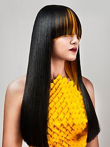Downloadable Beauty Salon Photo -  Woman with Long Straight Hair with Orange Highlights - Bound for Style
