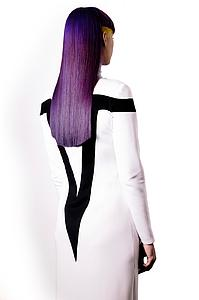 Downloadable Beauty Salon Photo - Woman with Long Purple Color Hair - Bound for Style