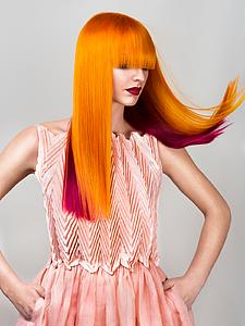 Downloadable Beauty Salon Photo - Woman with Long Orange Colored Hair