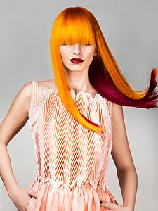 Downloadable Beauty Salon Photo - Woman with Long Orange Colored Hair - Bound for Style