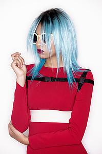 Downloadable Photos - Woman with Blue Bob Hairstyle in Red Dress