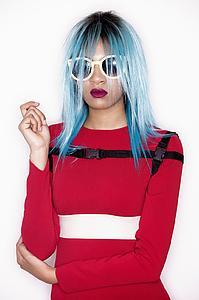Downloadable Beauty Salon Photo - Woman with Blue Bob Hairstyle in Red Dress - Bound for Style