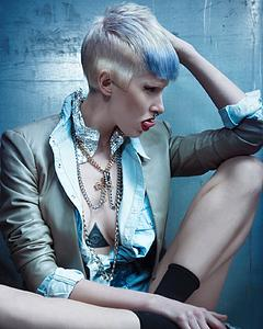 Downloadable Beauty Salon Photo - Woman with Pixie Cut and Blue Highlights