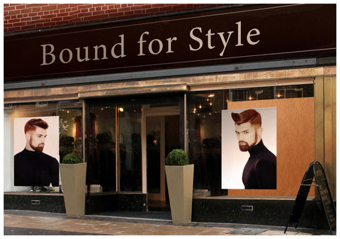 Textile Salon Banner - Man with High Fade Quiff Haircut in Black Outfit