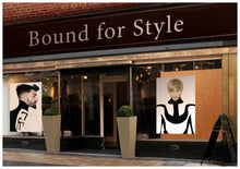 Load image into Gallery viewer, Textile Salon Banner - Man in Bob Haircut with Ash Blonde Hair Color