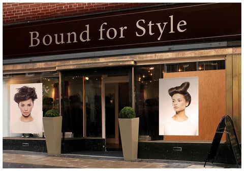Textile Salon Banner - Woman in Quiff Hairstyle with Tree Graphic Design Gown