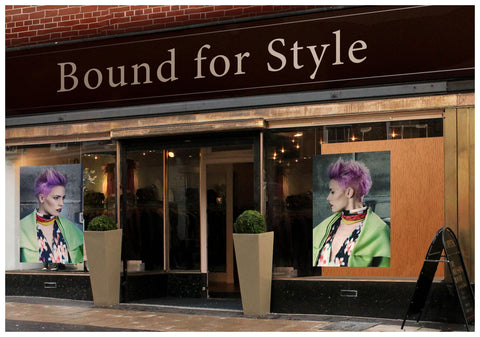 Textile Salon Banner - Woman in Purple Pixie Cut