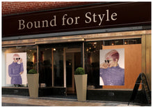 Load image into Gallery viewer, Textile Salon Banner - Woman in Pink Hair Colored Pixie Cut