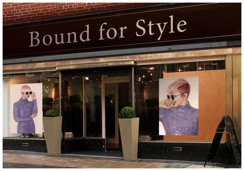 Textile Salon Banner - Woman in Pink Hair Colored Pixie Cut