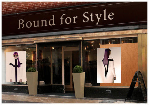 Textile Salon Banner - Woman with Long Purple Color Hair in Ponytail