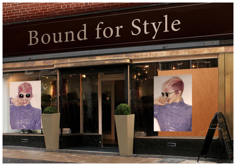 Textil Salon Banner - Frau in Pink Hair Coloured Pixie Cut