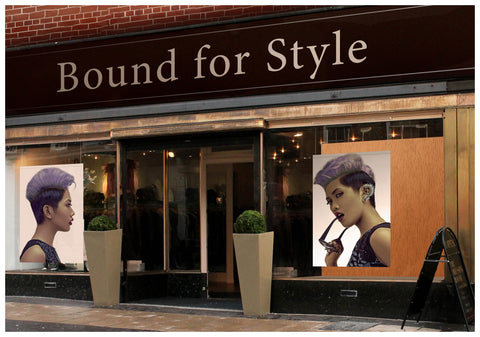 Textile Salon Banner - Woman with Short Hairstyle in Purple Shade Hair Color