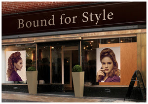 Salon Banner - Woman in Updo Hairstyle with Curls at the Back