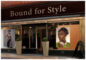 Salon Banner - Dark Skinned Woman in Low Bun Hairstyle