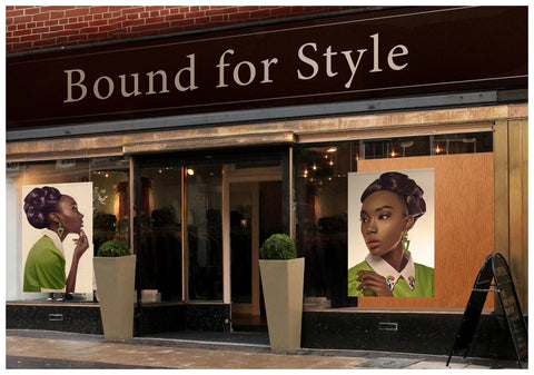 Textile Salon Banner - Black Woman in Updo with Big Curls