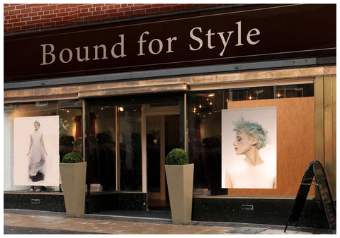 Textile Salon Banner - Woman with Blue Spiky Hair in Graphic Gown
