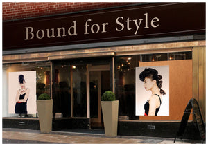 Salon Banner - Woman in Bouffant Updo Hairstyle in Black Dress