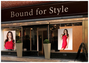Salon Banner - Woman with Curly Long Hair in Auburn Brown Haircolor