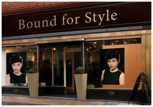 Salon Banner - Woman with Bouffant Hairstyle in Black Dress