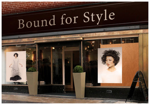 Textile Salon Banner - Woman with Messy Curls Short Hairstyle in Grass Graphic Gown