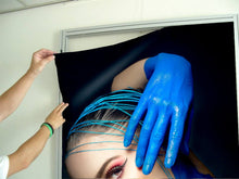 Load image into Gallery viewer, Textile Frame - Woman in Blue Body Paint and Red Makeup