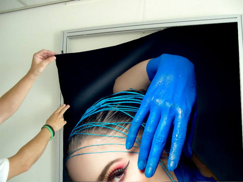 Aluminum Frames and Cloth - Woman in Blue Body Paint and Red Makeup