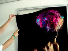 Load image into Gallery viewer, Textile Frame - Man in Silhoutte with Neon Colored Unicorn Hair