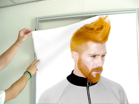 Aluminum Frames and Cloth - Man with High Fade Quiff and Fringe Haircut with Orange Hair color