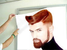 Load image into Gallery viewer, Textile Frames and Cloth - Man with High Fade Quiff Haircut in Black Outfit