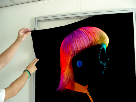 Salon Banners, Fabric & Aluminum Frames - Bob with Neon Colored Hairstyle in Silhouette
