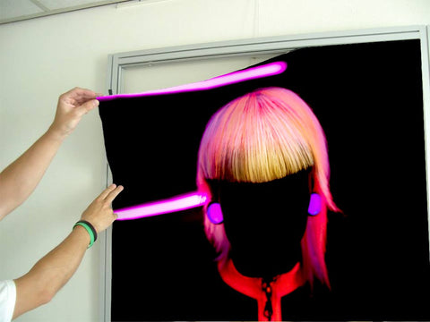 Aluminum Frames and Cloth - Bob with Neon Colored Hairstyle in Silhouette