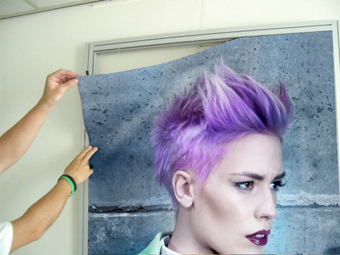 Aluminum Frames and Cloth - Woman in Purple Pixie Cut
