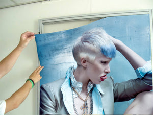 Textile Frame - Woman with Pixie Cut and Blue Highlights