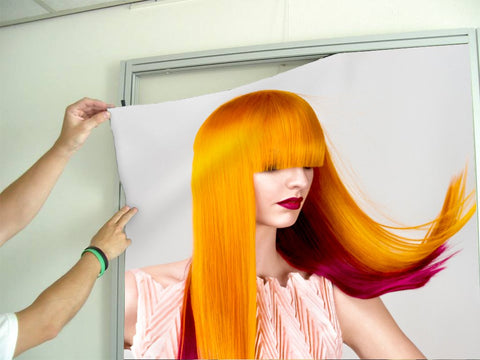 Aluminum Frames and Cloth - Woman with Long Orange Colored Hair