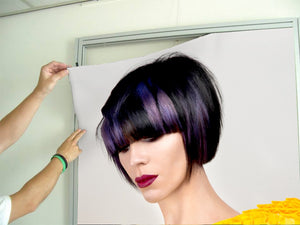 Textile Frames and Cloth - Woman with Bob Hairstyle with Purple Highlights