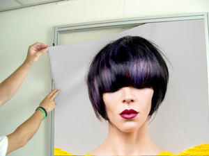 Textile Frame - Woman with Bob Hairstyle with Purple Highlights