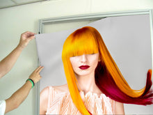 Load image into Gallery viewer, Textile Frame - Woman with Long Orange Colored Hair