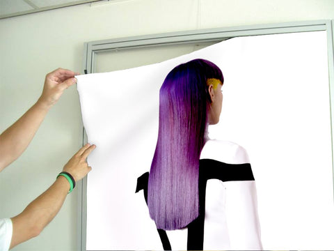 Salon Banners, Fabric & Aluminum Frames - Woman with Long Purple Color Hair