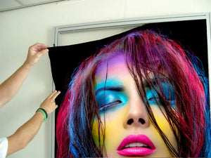 Textile Frame - Woman in Neon Multicolored Makeup