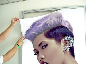 Textile Frame - Woman with Short Hairstyle in Purple Shade Hair Color