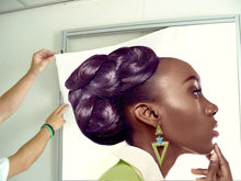 Load image into Gallery viewer, Textile Frames and Cloth - Dark Skinned Woman in Updo with Big Curls