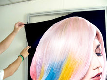 Load image into Gallery viewer, Textile Frame - Woman in Pink, Blue, Yellow Unicorn Hair