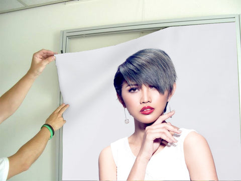Salon Banners, Fabric & Aluminum Frames - Woman with Bob Haircut and Ash Gray Hair Color