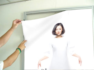 Textile Frame - Woman in Bob Hairstyle with Graphic Design Gown