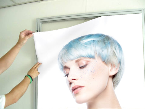 Aluminum Frames and Cloth - Woman with Blue Hair in Graphic Gown