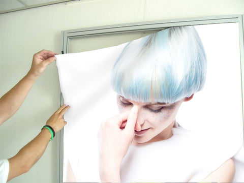 Salon Banners, Fabric & Aluminum Frames - Woman with Blue Hair in White Gown