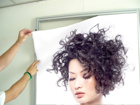 Aluminum Frames and Cloth - Woman with Curly Short Hairstyle