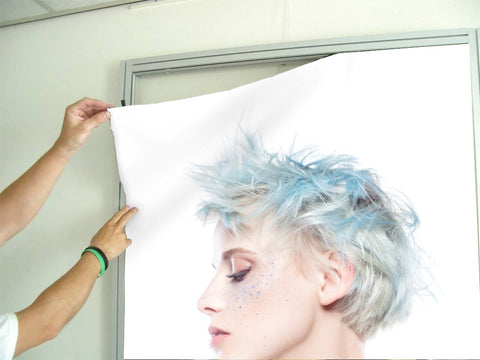 Aluminum Frames and Cloth - Woman with Blue Spiky Hair